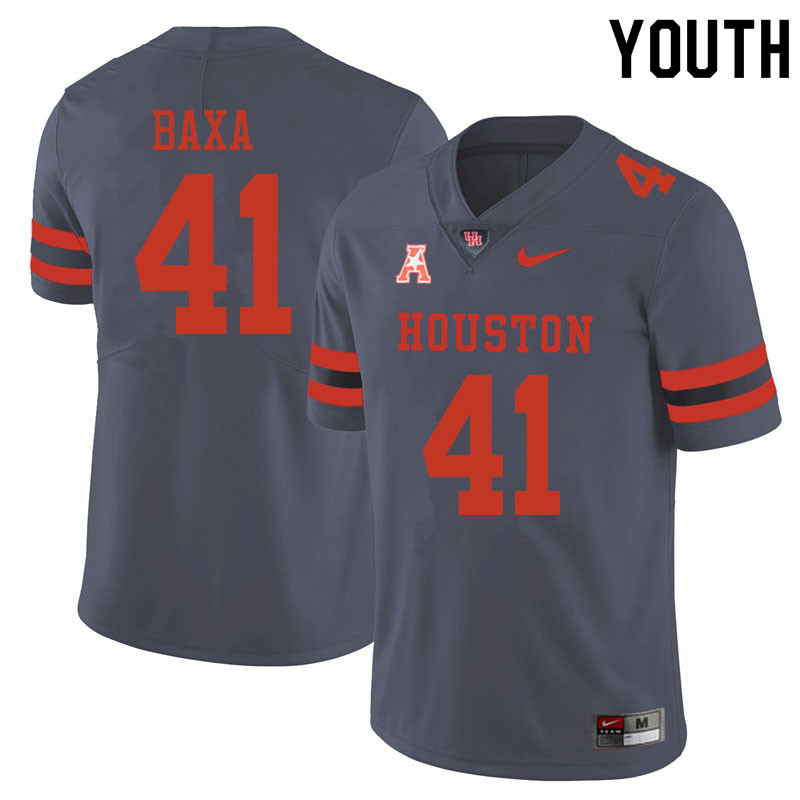 Youth #41 Bubba Baxa Houston Cougars College Football Jerseys Sale-Gray